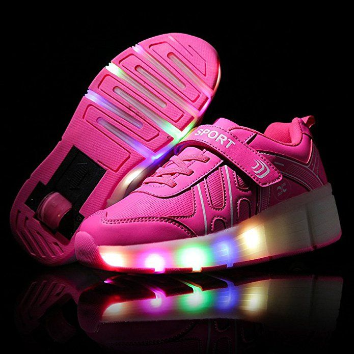 Girls Boys LED Light Roller Shoes With wheels Skate Sneakers For Kids Women