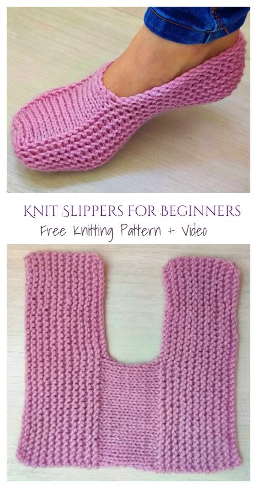 Knit One-Piece Slippers Free Knitting Pattern + Vi