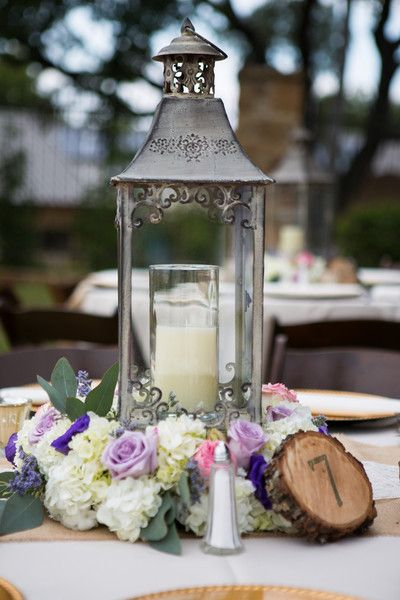 Tall Tin Lanterns Surrounded By Rose Hydrangea And Lavender Centerpieces Shelly Taylor Photography