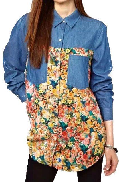 ROMWE | ROMWE Floral Print Denim Panel Shirt, The Latest Street Fashion