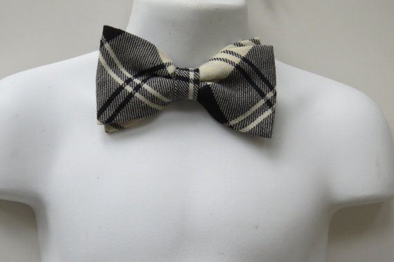 Vintage Bow Tie by Lochcarron  Black White by shabbyshopgirls