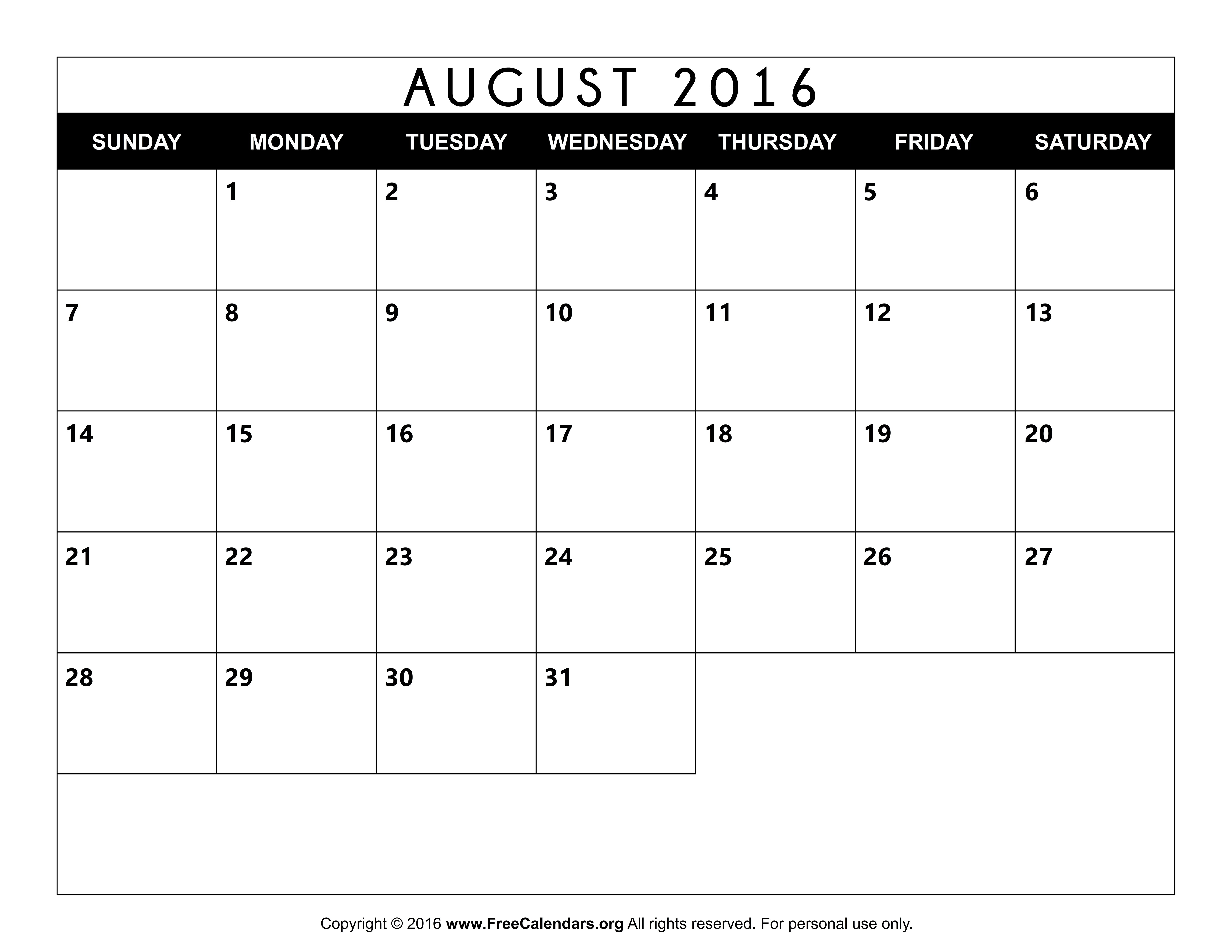 Calendar 2016 August 2016 Calendar Monday Tuesday Wednesday