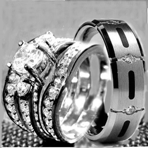 his hers 4 pcs womens stainless steel mens titanium wedding rings set bridal - Titanium Wedding Ring Sets