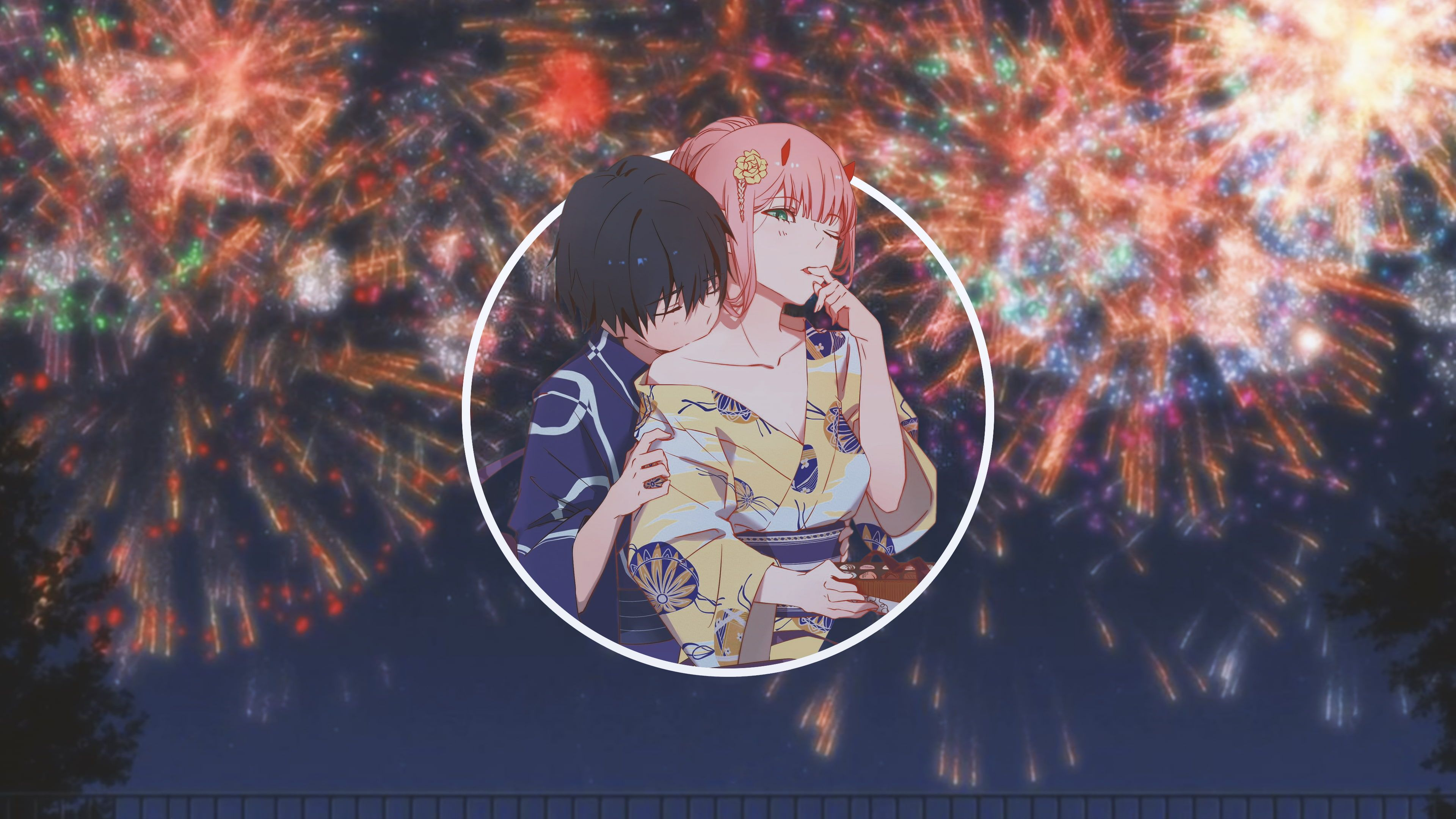 Anime Anime Girls Picture In Picture Darling In The Franxx Zero Two Darling In The Franxx Code 016 Hiro Yukata Hd Anime Wallpapers Anime Wallpaper Anime