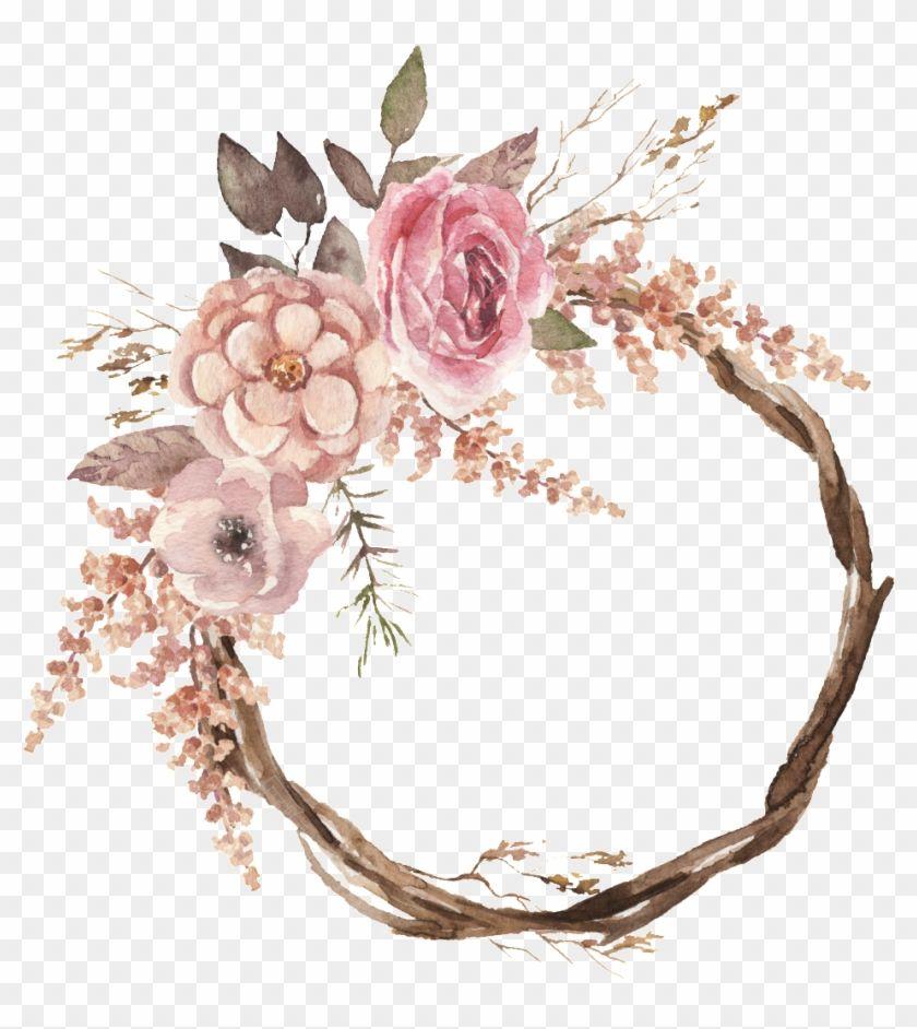 1024 X 1024 4 Watercolour Flower Wreaths Boho Hd Png Download Watercolor Flower Wreath Flower Frame Png Floral Design Drawing