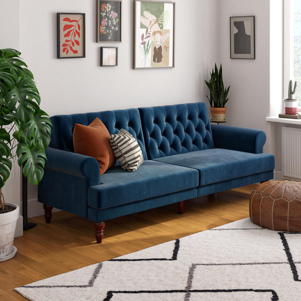 Novogratz Upholstered Cassidy Futon Convertible Sofa Bed Blue Velvet Walmart Com Blue Couch Living Room Blue Sofas Living Room Blue Sofa Living