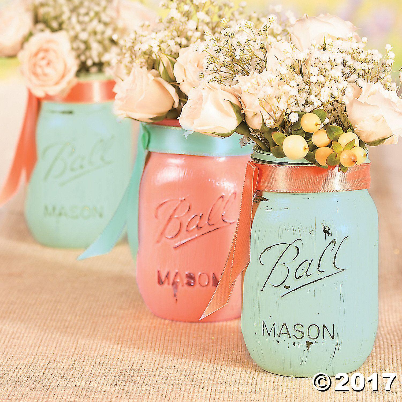 Wedding Painted Mason Jars Idea - OrientalTrading.com