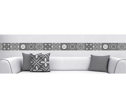 Cenefa de vinilo azulejos blanco y negro leroy merlin for Papel vinilo blanco