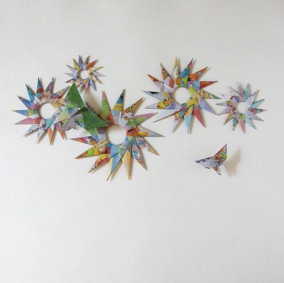 Origami Garden Wall Appliques Flowers & Butterflies, by bookBW