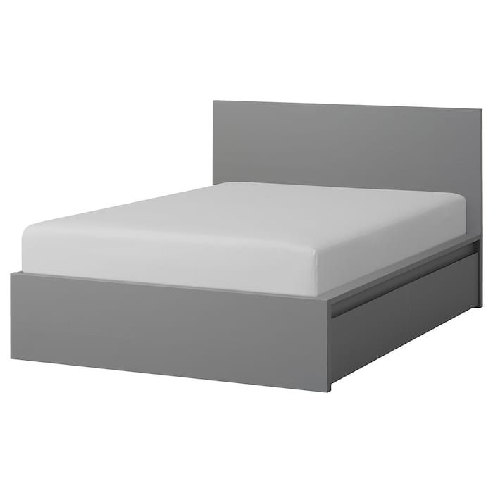 Malm High Bed Frame 4 Storage Boxes Gray Stained Luroy Queen