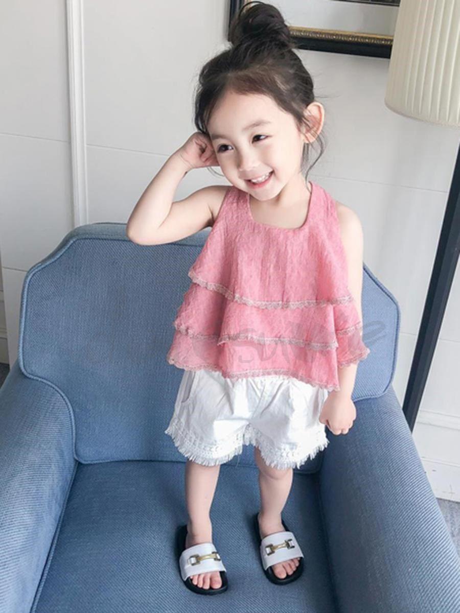 5c0c571d4a386 Doresuwe 日本風可愛い ノースリーブ キャミ Tシャツ+無地フリンジ パンツ子供服キッズファッション