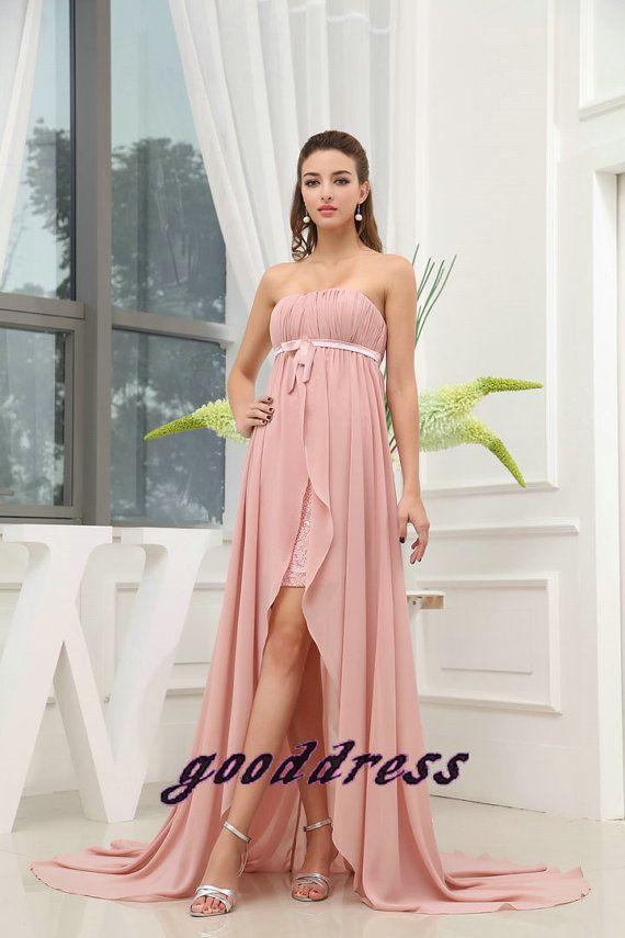 Custom Handmade Elegant Strapless Pink Pleated Sash by gooddress ...