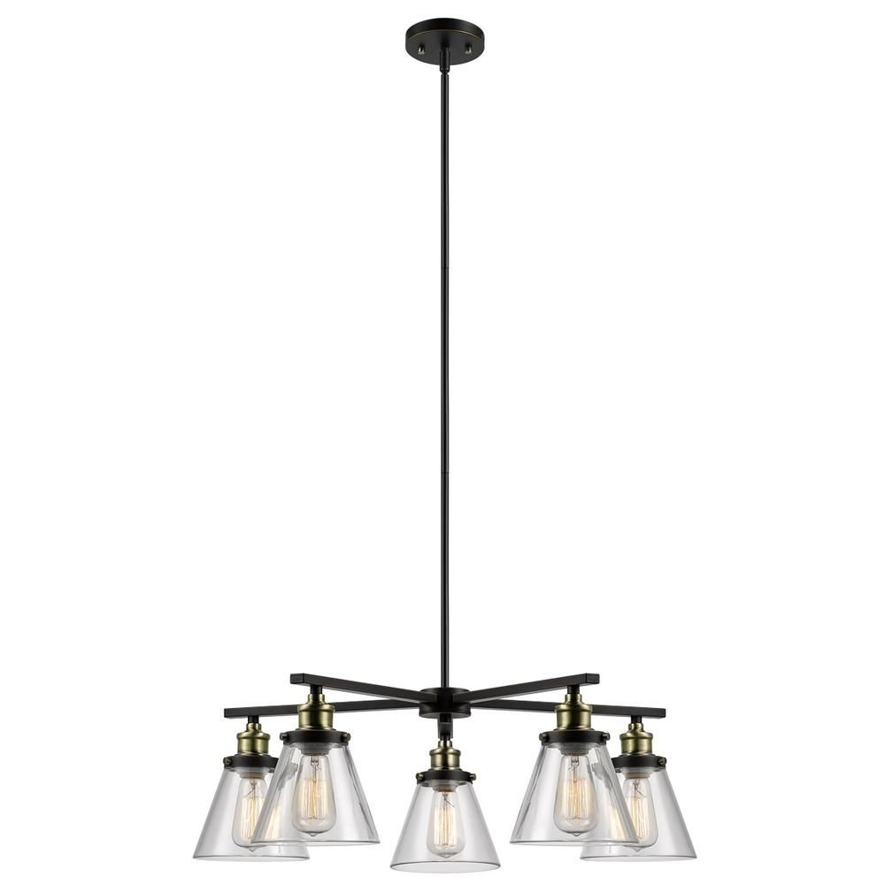 Globe Electric Shae 5 Light Vintage Edison Oil Rubbed Bronze Chandelier With Clear Glass Shade