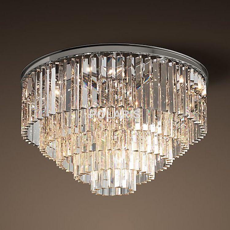 Free Shipping Modern Vintage Rh Chandelier Crystal Flush Ceiling