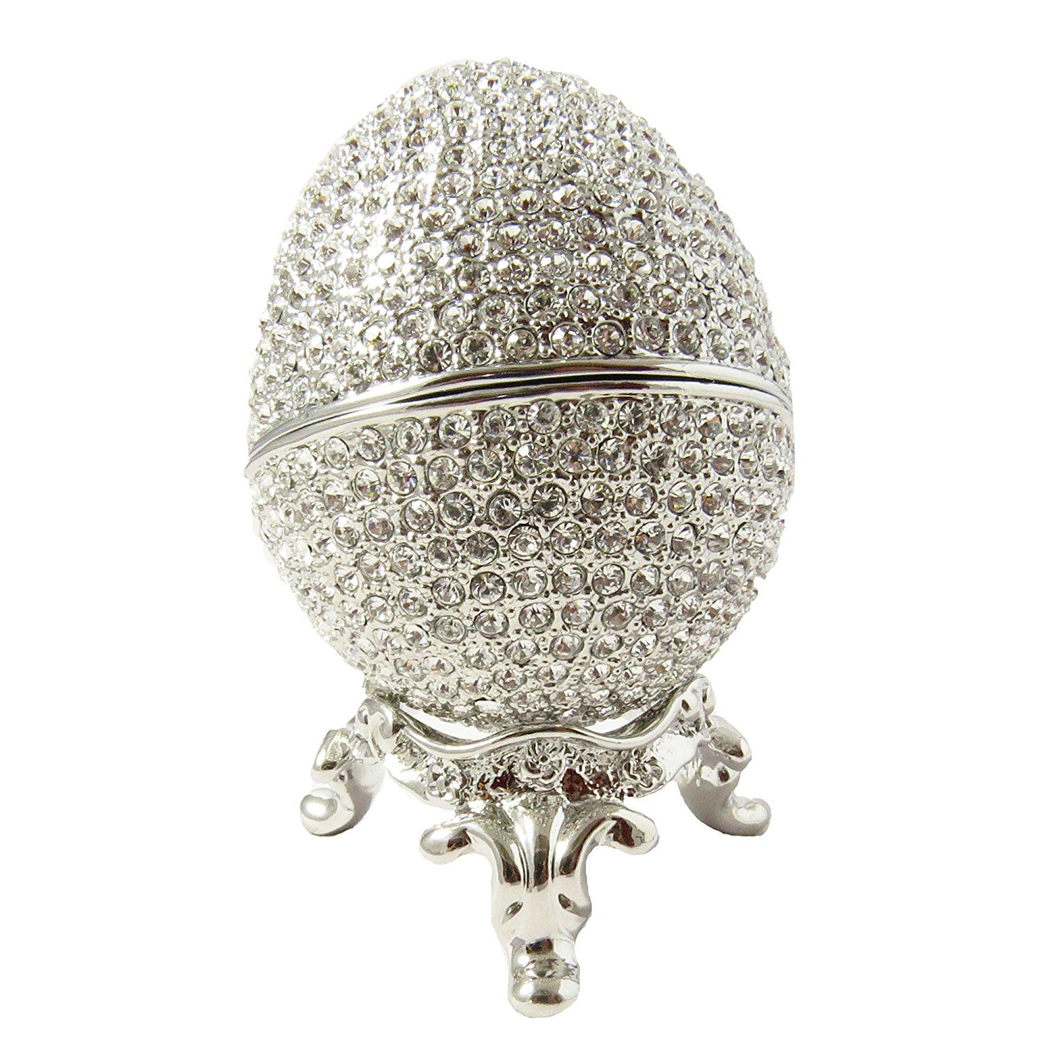 Rhodium Plated Russian Faberge Style Egg Proposal Wedding