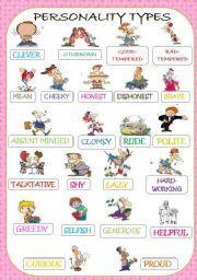 English worksheet: PERSONALITY ADJECTIVES PICTIONARY ...