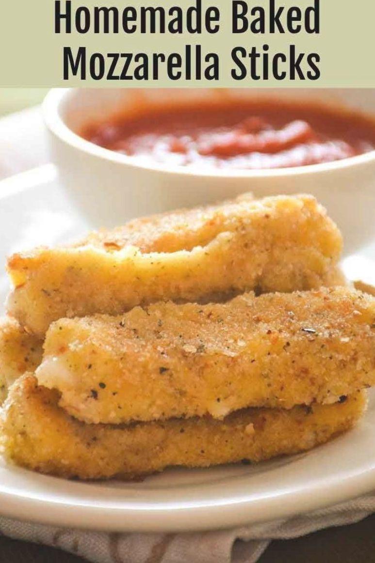 Homemade Baked Mozzarella Cheese Sticks Appetizer Cheese Baked Comida Comida Y Bebida Recetas