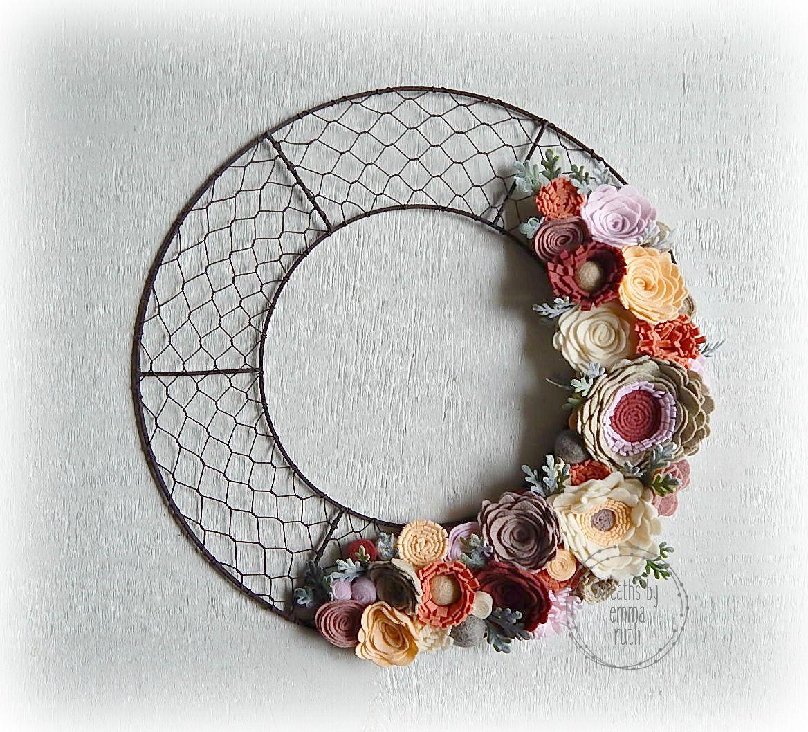 Felt Flower Wreath Chicken Wire Wreath made by Wreaths By Emma Ruth ...