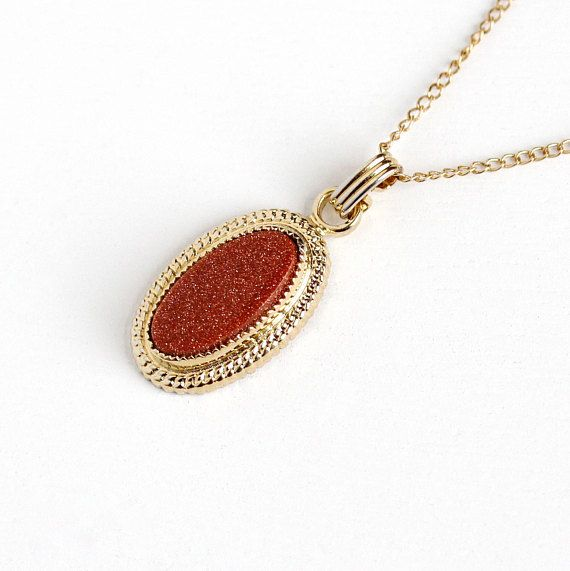 Small Goldstone NecklaceMagnificent Goldstone NecklaceWomen/'s Goldstone NecklaceGoldstone Necklace with Sterling ChainGoldstone Necklace