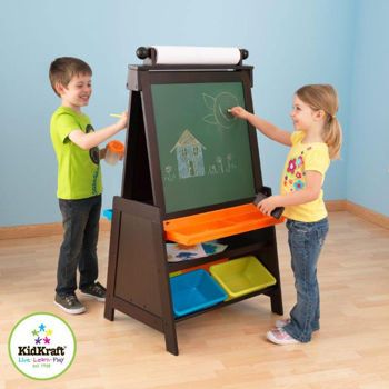 Costco Kidkraft Double Sided Grand Storage Easel Dry Erase And Chalkboard Surfaces I Like Hiw Its Dark Wood