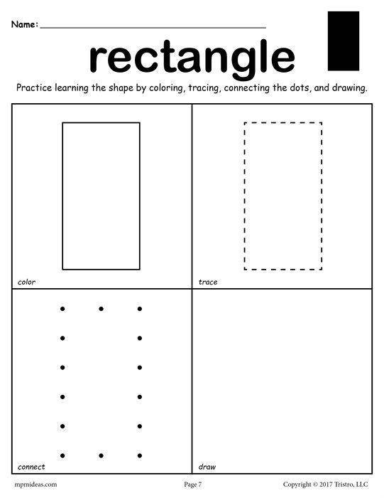 Rectangle Shape Worksheet Color Trace Connect Draw Shapes Preschool Shapes Worksheets Preschool Worksheets