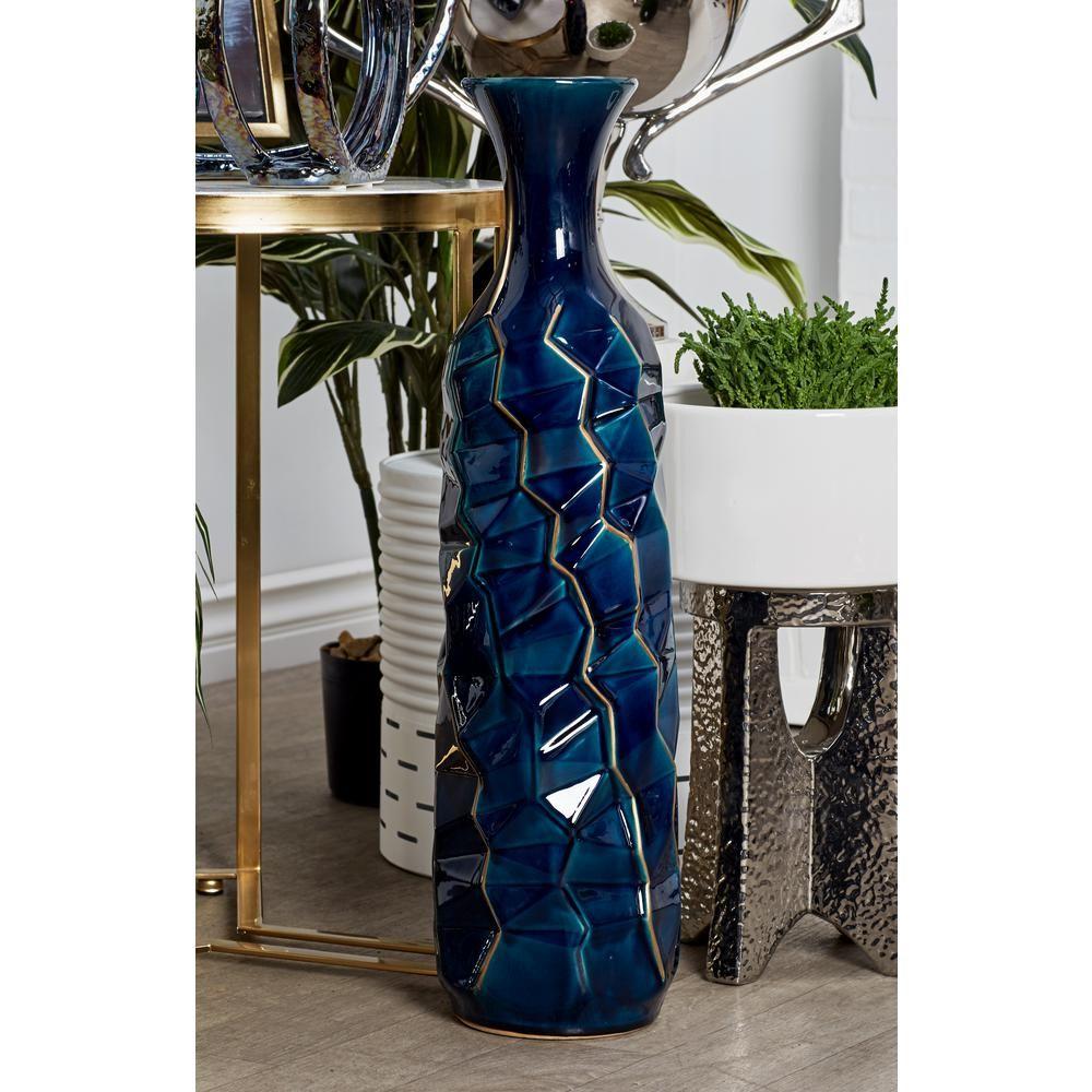 Litton Lane 26 In Navy Blue Ceramic Decorative Vase Vases Decor Tall Vase Decor Blue Ceramics