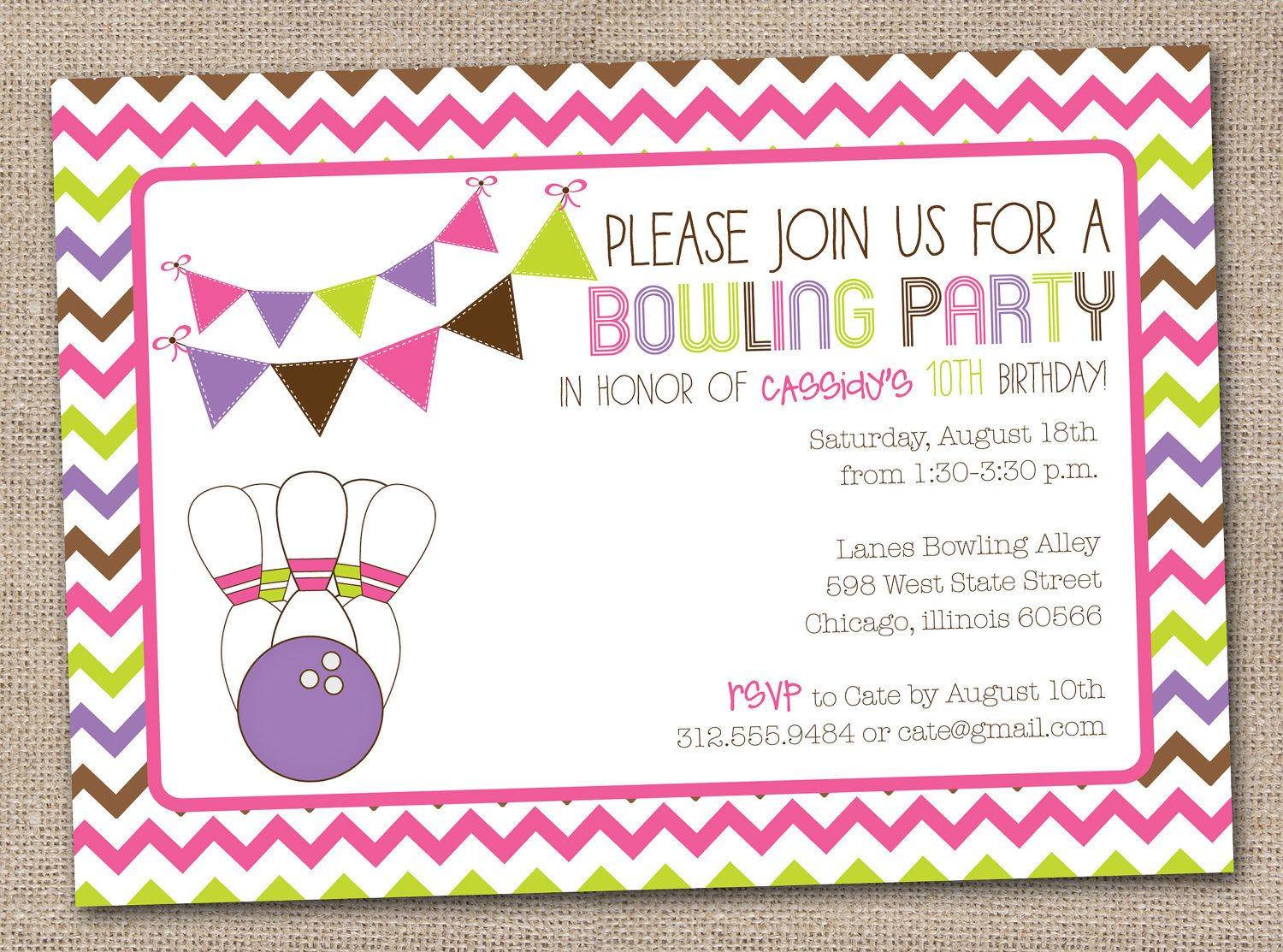 Reserved for Debbie - Girls Bowling Party Printable Birthday Party ...