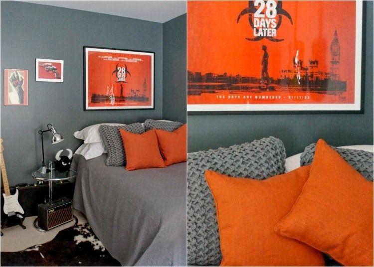 deco chambre ado peinture grise et coussins orange