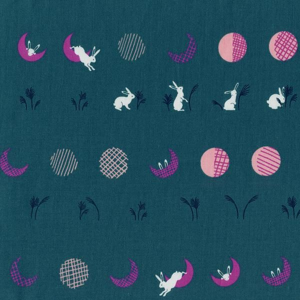 Cotton + Steel Mochi: Moon Bunnies Teal, printed on quilting cotton.