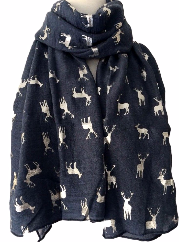 A Large Blue Scarf With Silver Tone Stag And Deer Print Long Wide Soft Measurements Approx 70 Inch 175 Cm In Length 37 92