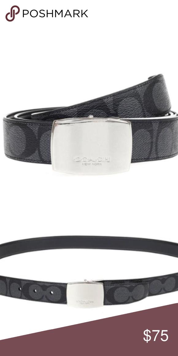 0a09ddf06cf1 ... Reversible Signature Coach Belt Dress Plaque Cut-To-Size Reversible  Signature Coated Canvas Belt (Coach F64828) Charcoal Black Coach  Accessories Belts