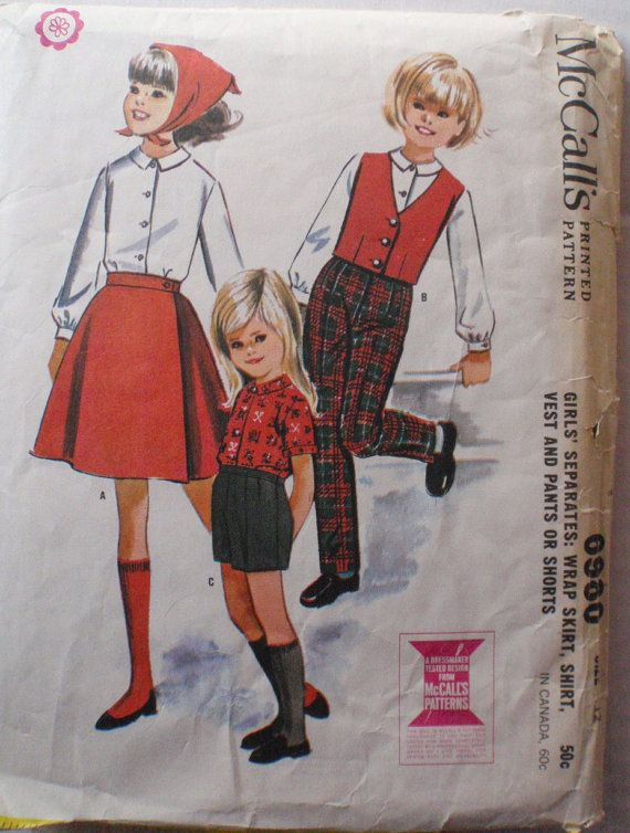 23789420ed Girl's Vintage 60's Sewing Pattern Wrap Skirt by Shelleyville, $8.00 ...