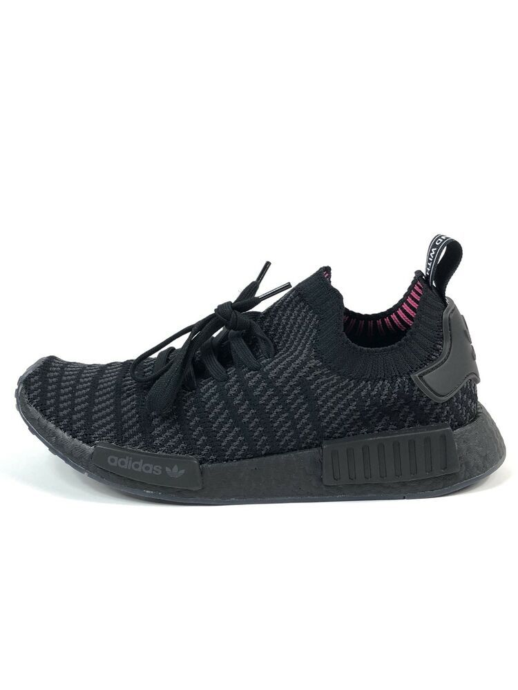 c0772d174583 New Men s Adidas NMD R1 STLT PK Primeknit Triple Black Boost CQ2391 SZ 10