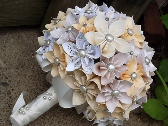 Wedding Paper Bouquet Of Flowers : Origami hand bouquet rainbow wedding