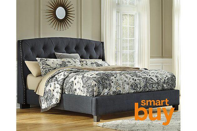 Best Ashley Furniture Dark Gray Kasidon Queen Tufted Bed 398 400 x 300