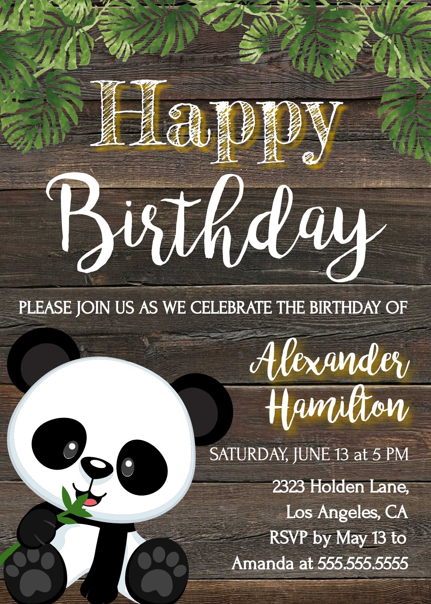 Panda Birthday Party Invitation Template