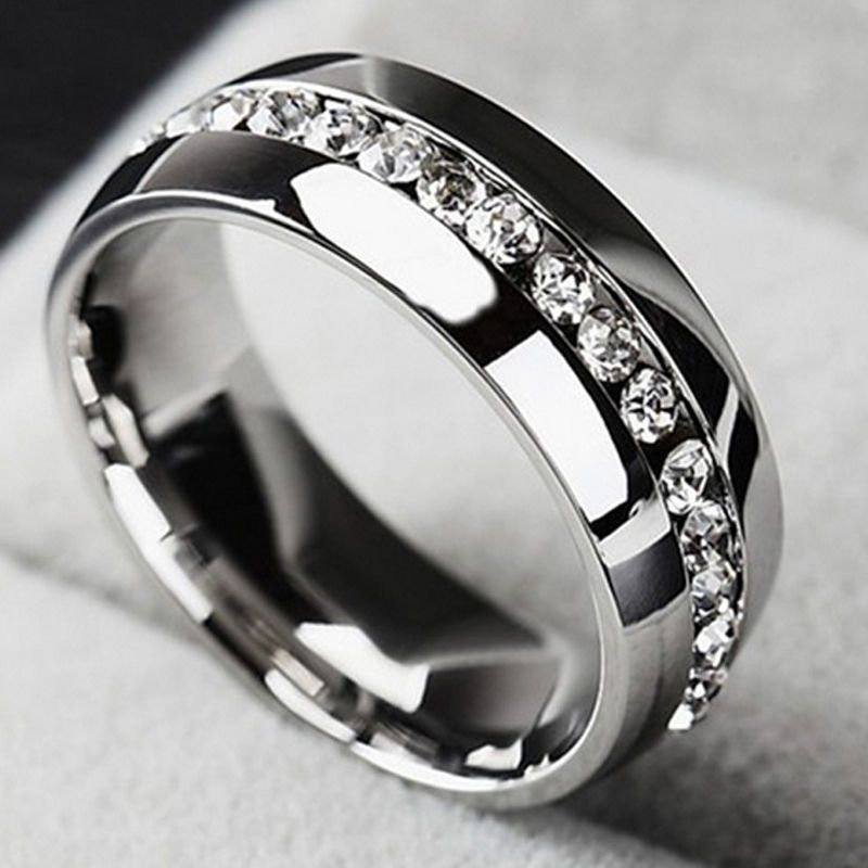 Details About Men Women Cz Couple Stainless Steel Wedding Ring