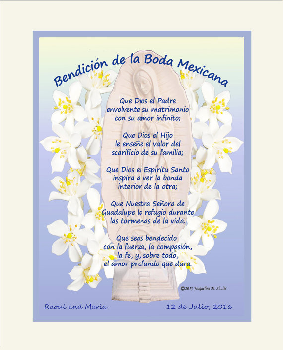 Mexican Wedding Blessing Personalized By Jacquelineoriginals