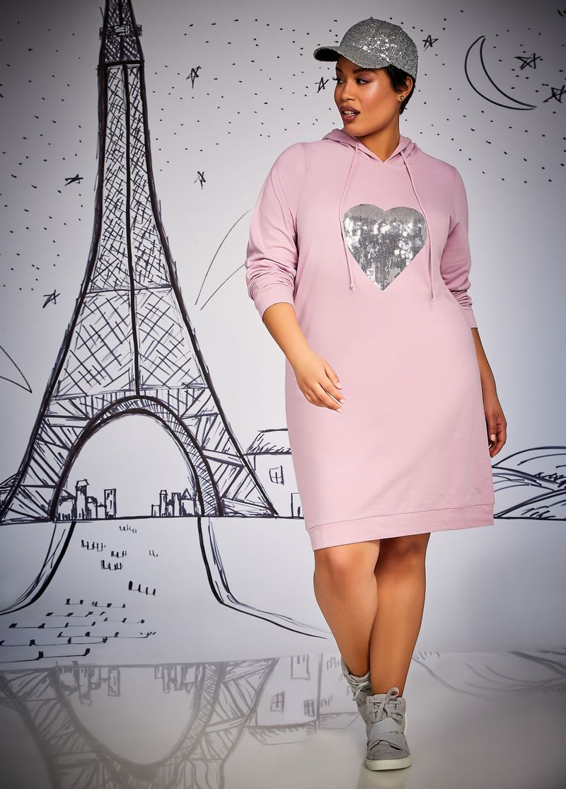 Plus size wedding dress rental  Outfits Made For YouPlus Size Outfits  Sequin Heart Hoodie Dress