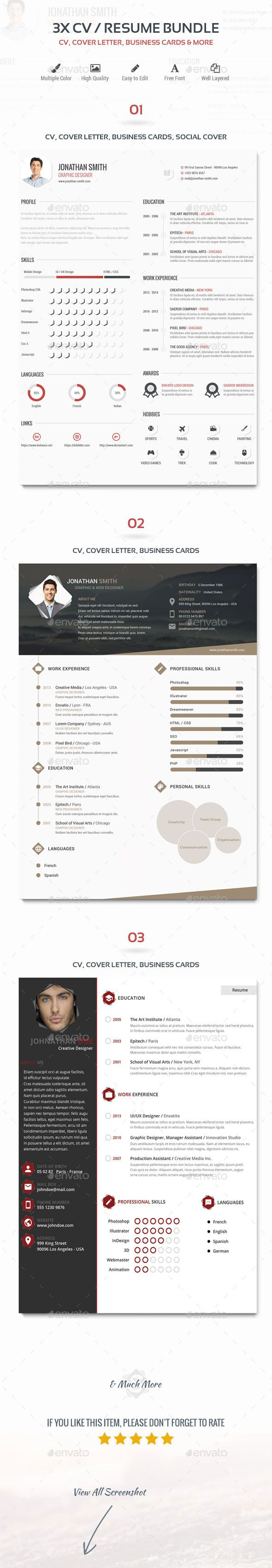 X CvResume Bundle  Cv Template Resume Cv And Font Logo