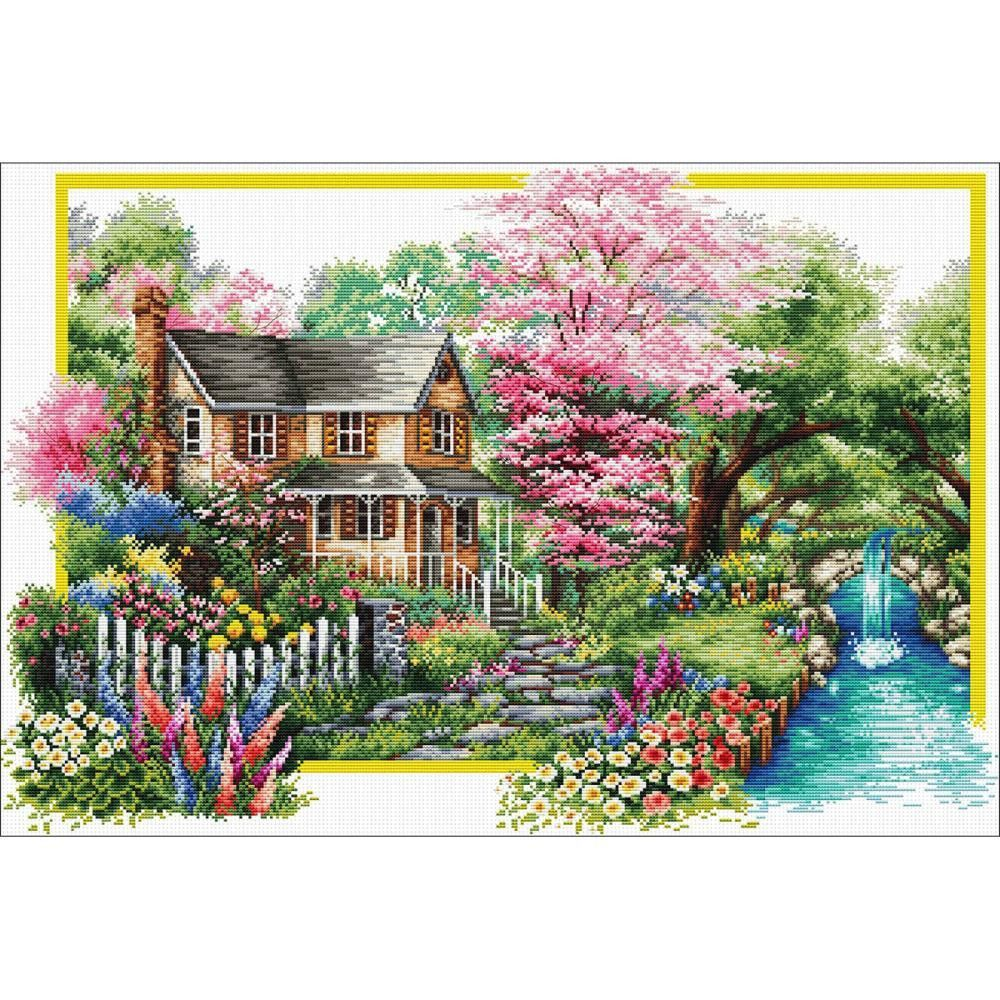 AUTUMN COTTAGE Precise Stamped Cross Stitch Kit No Count NEEDLEART WORLD