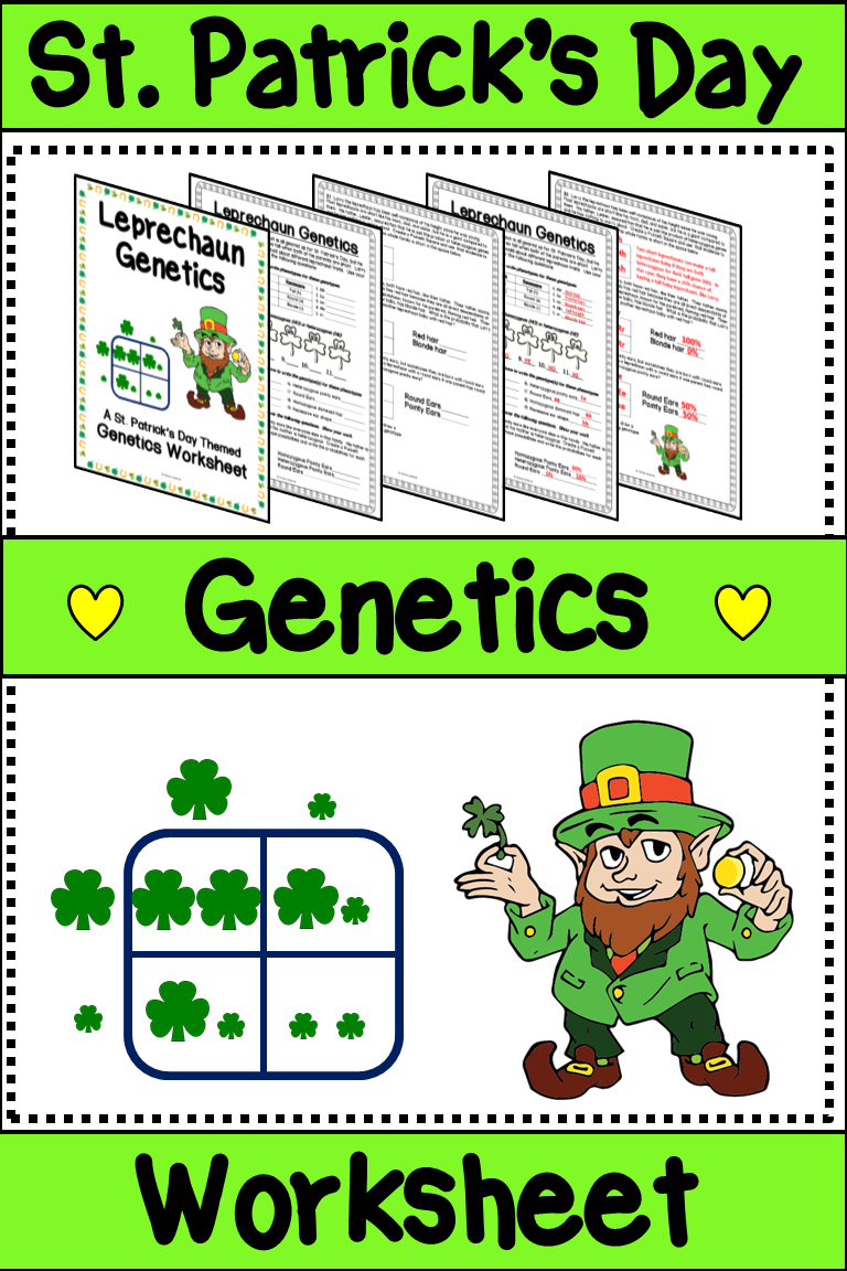St. Patrick\'s Day Science Worksheet -Leprechaun Genetics Worksheet ...