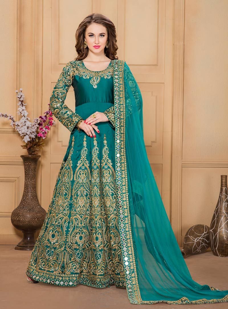 Teal Taffeta Silk Long Anarkali Suit 82623   Exquisite Fashion ...