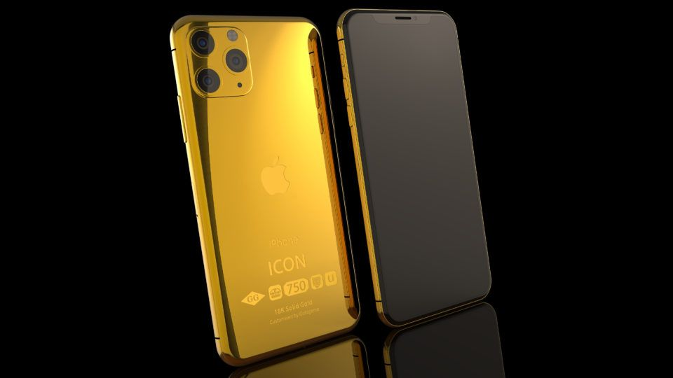 18k Solid Gold Iphone 11 Pro Icon 5 8 Goldgenie International Gold Iphone Iphone 11 Iphone