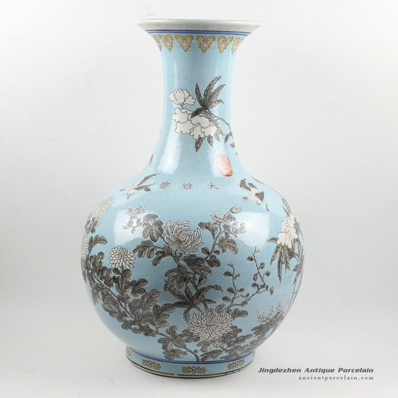 H215 Hand Painted Chinese Antique Blue Ceramic Vases Ancient