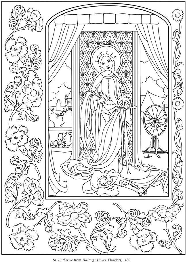 Welcome To Dover Publications Saint Catherine Coloring