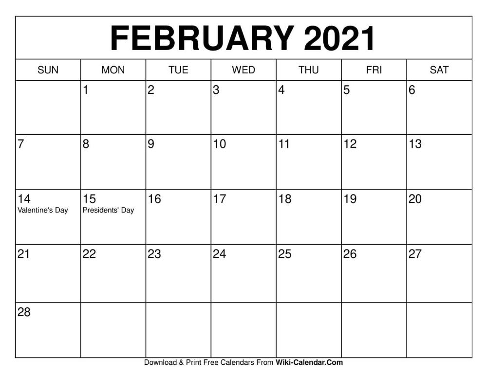 February 2021 Calendar In 2020 Calendar February Calendar Free Calendars To Print