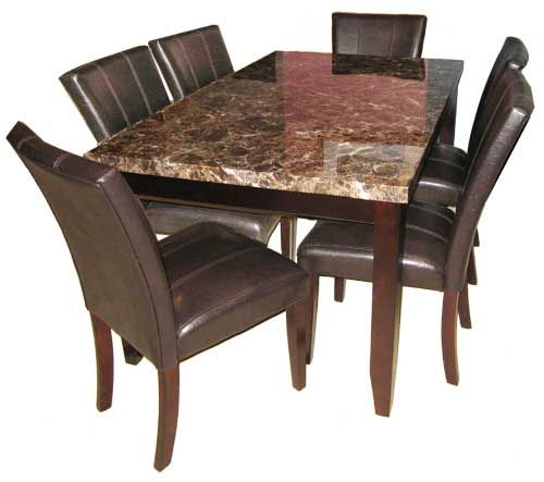 7 Piece Faux Marble Dining Set On Sale!  Puritan Furniture West Hartford CT.