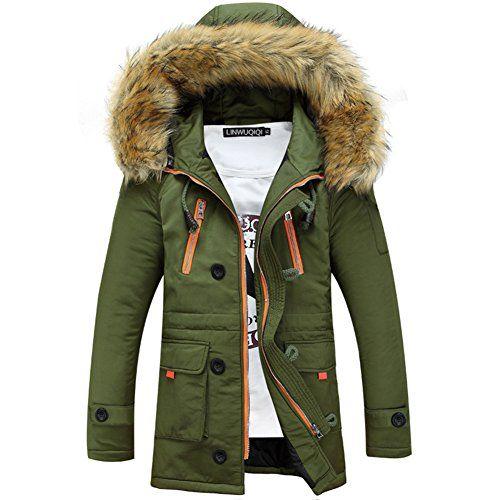 Newbestyle Winter Baumwolle Herren Wintermantel Mit Pelzkragen Kapuzenjacke Outdoorjacke Winterjacke Warm Mantel Winterjacke Manner Jacken Wintermantel Herren