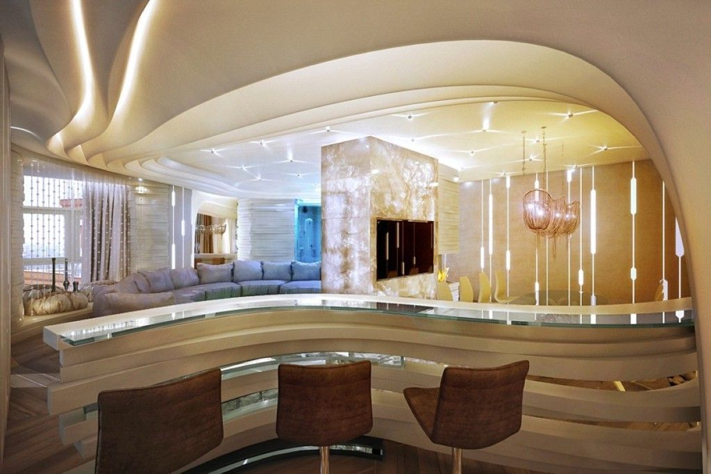 Interior , Small But Chic Bar Counter Designs For Homes With Impressive  Design : Curved Counter